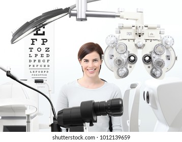 optometrist exam, eyesight  woman patient in optician office