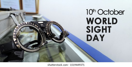 optometrist trial frame for World Sight Day on 10th October. Copy Space Concept. Selective Focus