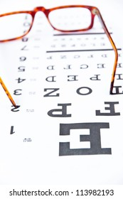optometry concept, close up at eye chart
