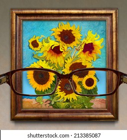 Optometry. Concept graphic. visibility through glasses as a photograph. In addition to them like an impressionist painting.