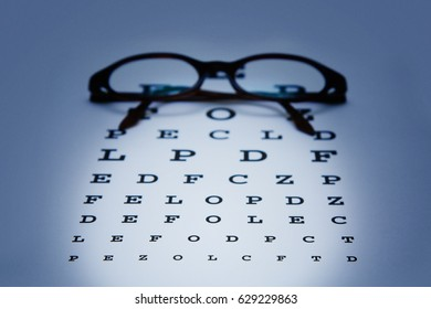Optometry with glasses on test sheet