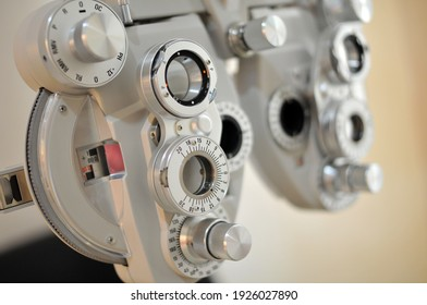 Optometry and glasses optical equipment in optical shop
