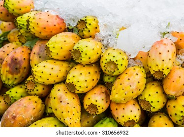 Opuntia ficus-indica fruits on mediterranean farmers market