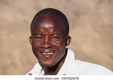 Opuwo, Namibia - Jul 06, 2019: Namibian people seen in Opuwo in the Kunene Region of Namibia in north-western Namibia, Africa