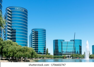 Oracle headquarters campus surrounded by water with Oracle Team USA Trimaran - Redwood City, CA, USA - 2019