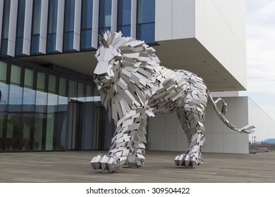 ORADEA, BIHOR/ ROMANIA- CIRCA JULY 2015: Statue of Lion Steel - the Lion steel with two tails