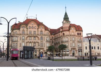 ORADEA, ROMANIA - July 13: Black Eagle Palace (Palatul Vulturul Negru) by evening on July 13, 2017 in Oradea