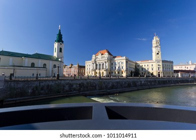 Oradea Town Hall with Tower and Crisul Repede River