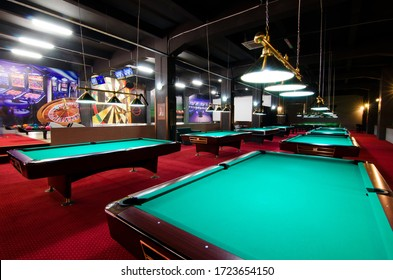 Oradea/Romania- 2014:  Modern billiard and snooker room, empty without clients