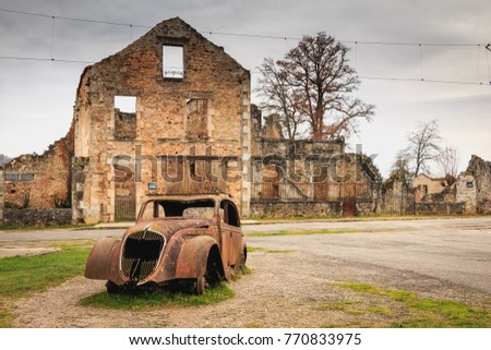 ORADOUR SUR GLANE, FRANCE - December 03, 2017 : ruined house destroyed by fire following the massacre of the entire population by the German army on June 10, 1944.