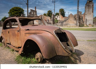 Oradure-sur-Glane, France, , August 2014: Village of Oradure-sur-Glane destroyed by Waffen-SS in 1944 and kept as a memorial to the victims