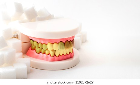 Oral health, tooth decay and cavities and sugary foods destroy the dental enamel concept with plastic medical model of cavity ridden teeth or dentures surrounded by white sugar cubes with copy space