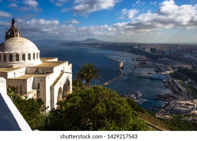 Oran, Algeria - February 20, 2014 - A view of the city of Oran, the second largest port city of Algeria, from Fort Santa Cruz a fortress built by the Spaniards above the Gulf of Oran.