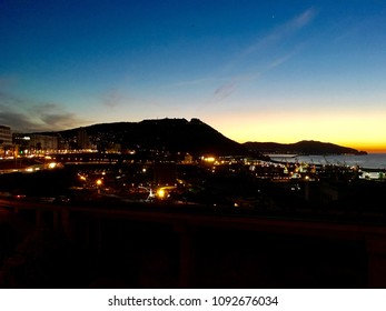 ORAN, ALGERIA - MAR 3, 2017:Night view Port Oran is the country's second largest port after Algiers.Oran also called Wahran French Ouahran  located northwestern Algeria.It lies along the Mediterranean