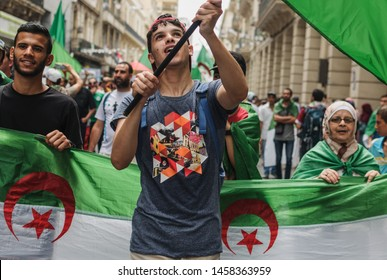 Oran/Algeria - 2019. Political related protests in Algeria. Very large peaceful anti-government protests are organised each Friday since Fabruary 22, 2019 in almost all Algerian cities including Oran.