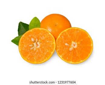 Orang fruit isolate. Orange with leaves isolated on white.