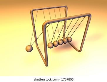 Orange 3d pendulum with one ball swinging