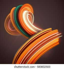 Orange abstract twisted shape. Computer generated geometric illustration. 3D rendering
