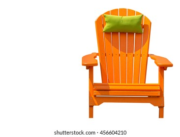 Orange Adirondack Chair - isolated orange Adirondack chair with green head rest pillow against white background.