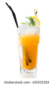 Orange Alcoholic cocktail Bourbon Sour in highball with lemon and rosemary, isolated on white background