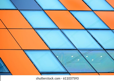 orange aluminum composite and mirror glass to abstract background