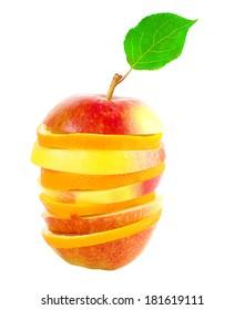 Orange and apple sliced