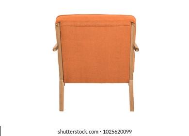 Orange Armchair. Modern Designer Chair On White Background. Texture Chair.