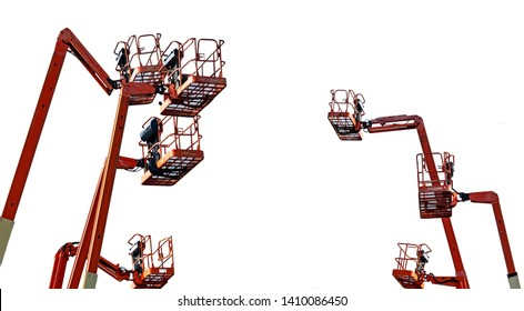 Orange articulated boom lift. Aerial platform lift. Telescopic boom lift isolated on white background. Mobile construction crane for rent and sale. Maintenance and repair hydraulic boom lift service.