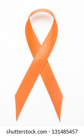 Orange awareness ribbon on white background