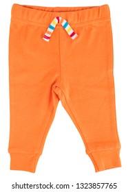 Orange baby pants isolated on white