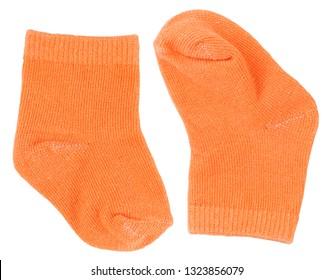 Orange baby socks isolated on white