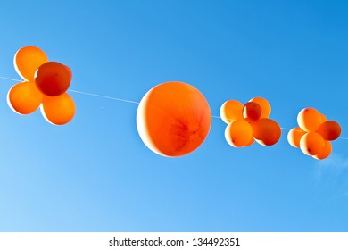 Orange balloons to celebrate queensday in the Netherlands