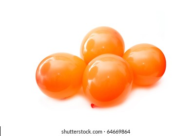 Orange balloons, image is taken over a white background