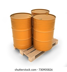 Orange barrels on a pallet (3d illustration)