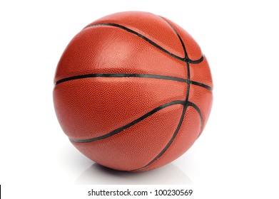 An orange basketball ball on white background