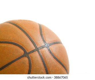 an orange basketball isolated against a white background