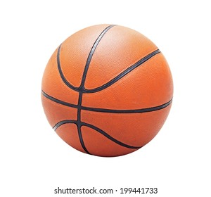Orange basketball old and used, isolated in white background (with clipping path)