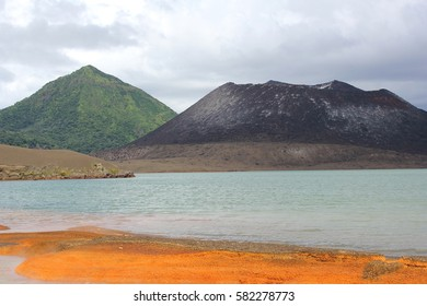 Orange beach created by geothermal water run off at Tavurvur Volcano in Papua New Guinea.