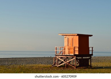 Orange beach hut at Batumi
