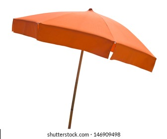 Orange beach umbrella isolated on white with clipping path