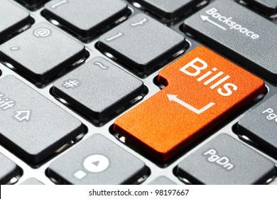 Orange bills button on the keyboard