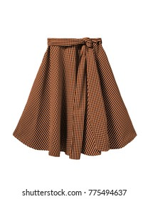 Orange and black checkered skirt with long ribbon belt isolated on white