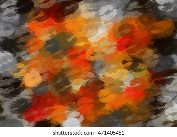 orange black and red kisses lipstick abstract background