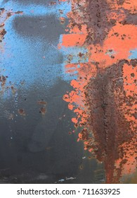 Orange and blue rusty metal abstract texture