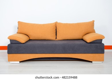 orange blue sofa on a white background