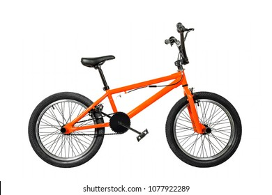 orange bmx bike isolated on white