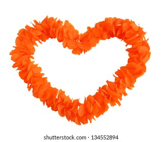 Orange boa made of fabric in a heart shape isolated on white.