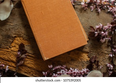 Orange book. Book on wooden table. Dictionary. Bouquet of pink roses on a white background. Minimal composition. Flat lay