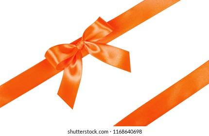 Orange bow, ribbon. Isolated on white background.
