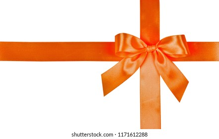 Orange bow, ribbon. Isolated on white background.